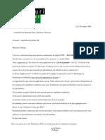 2009-11-Lettre prefet Guyane tracabilite de l'or
