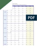 2014 Weekly Calendar Monday