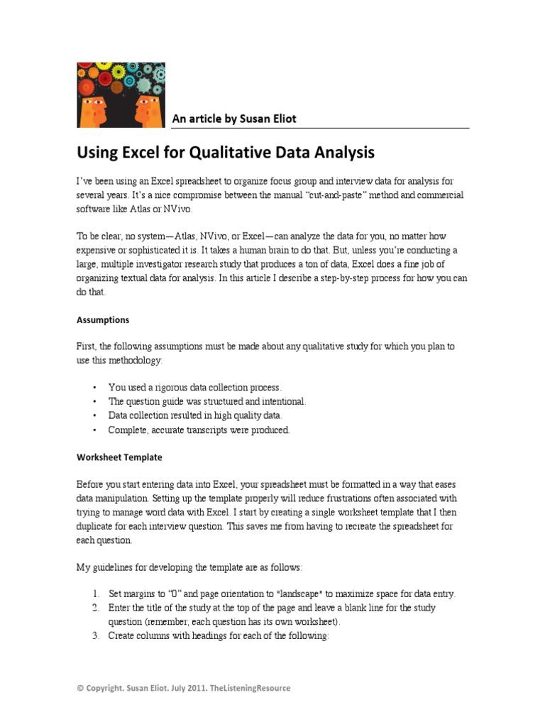 Using Excel For Qualitative Data Analysis Qualitative Research