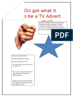 TV Advert Audition Poster
