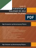 Ang Karapatan at Kalayaan Ng Mga Mamamayang Pilipino