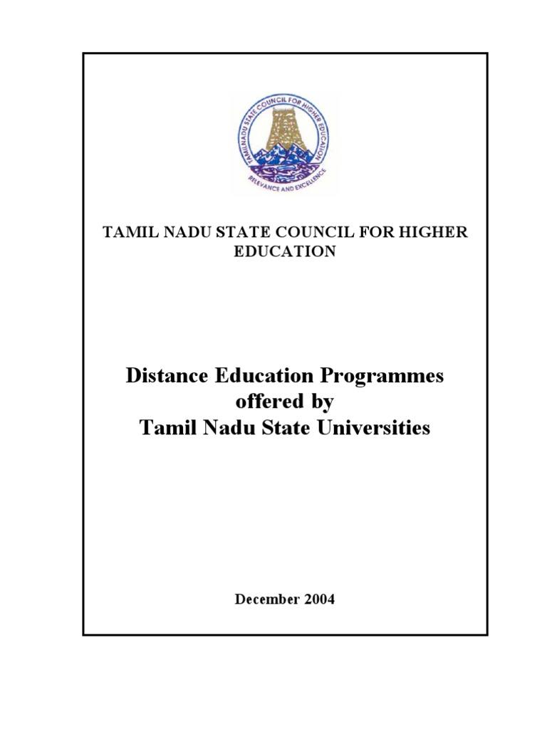 Distance Education Programmes In TN Universities
