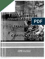Reglamento de Seguridad e Higiene - Capitulo 800 Transmision -30-82
