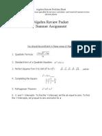 Honors_AP Physics Algebra Review Problem Sheet