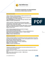 Agenda Actividades Destacadas. Del 22 de enero al 8 de febrero de 2015. Fundación Caja Mediterráneo