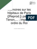 Jacques Tenon, Memoires Sur Les Hôpitaux de Paris (1788)