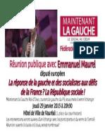 Reunion Publique Emmanuel Maurel le 29 janvier 2015