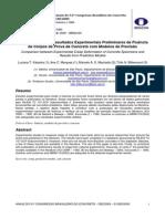 Comparação entre resultados experimentais preliminares de fluência de corpos de prova de concreto com modelos de previsão
