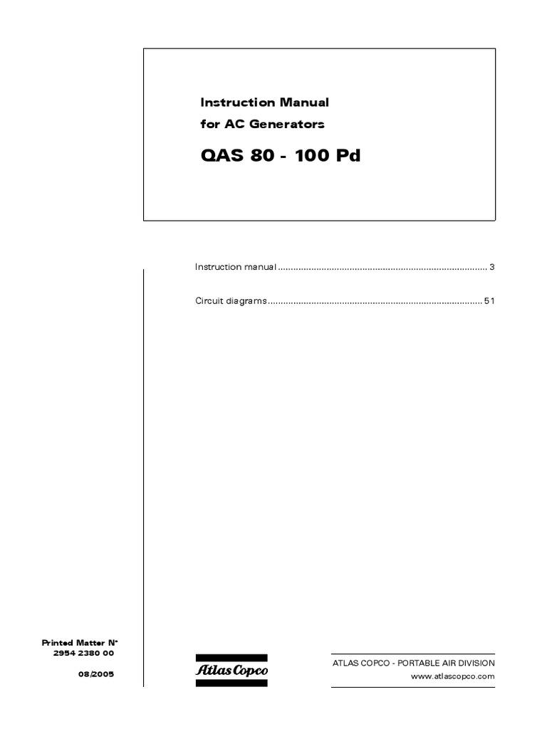 Instruction Manual Ac Generators Battery Electricity Mains Atlas Copco Wiring Diagram
