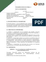 Programa Derecho Penal II, 2013, LEX 505