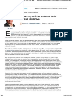 Esfuerzo y Mérito, Motores de La Calidad Educativa - 23.09.2014 - Lanacion.com