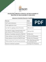 Admission Schedule 2015-17