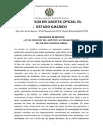 Ley de Creación Del Instituto Autónomo Minero Del Estado Guárico (Iameg)