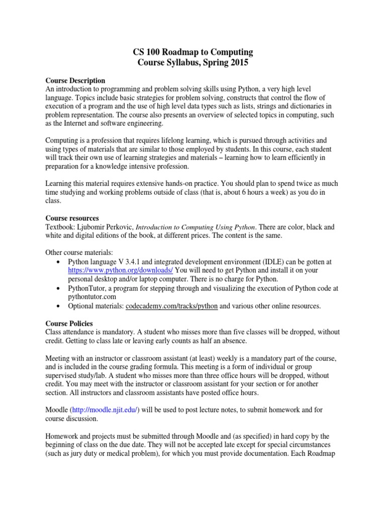 Cs100 2015s Syllabus Python Programming Language Computer Program
