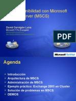 Alta Disponibilidad Con Microsoft Cluster Server Mscs