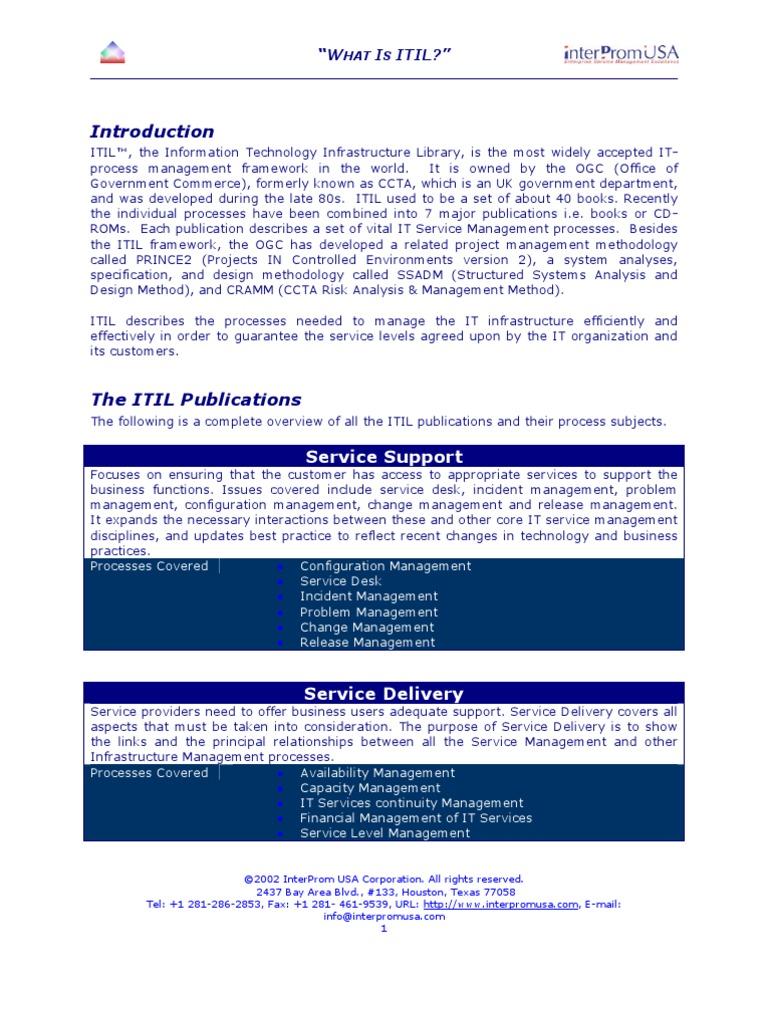 Itil service management processes