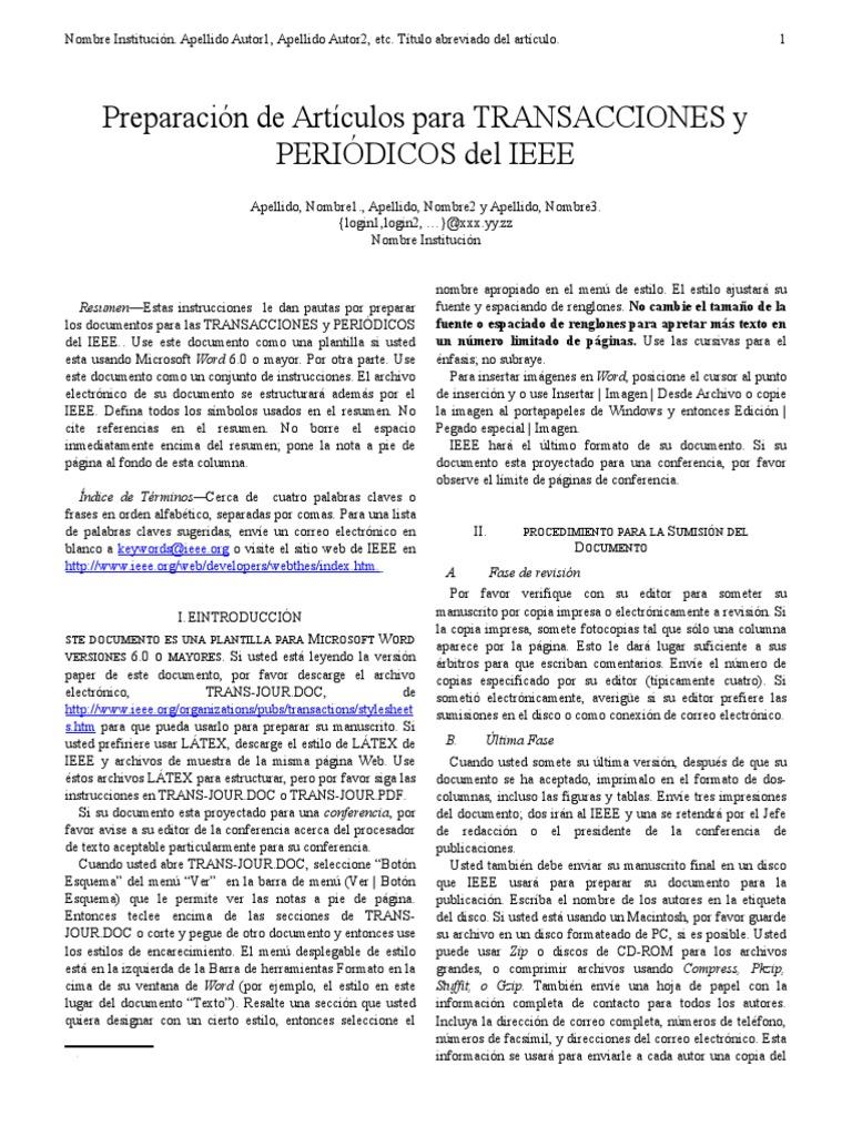 Perfecto Plantilla De Requisitos Ieee Foto - Colección De Plantillas ...