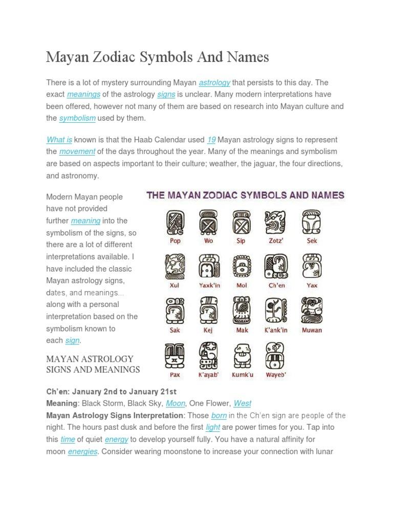 Mayan Zodiac Symbols And Names Maya Civilization Astrology