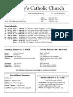 Bulletin for January 25, 2015