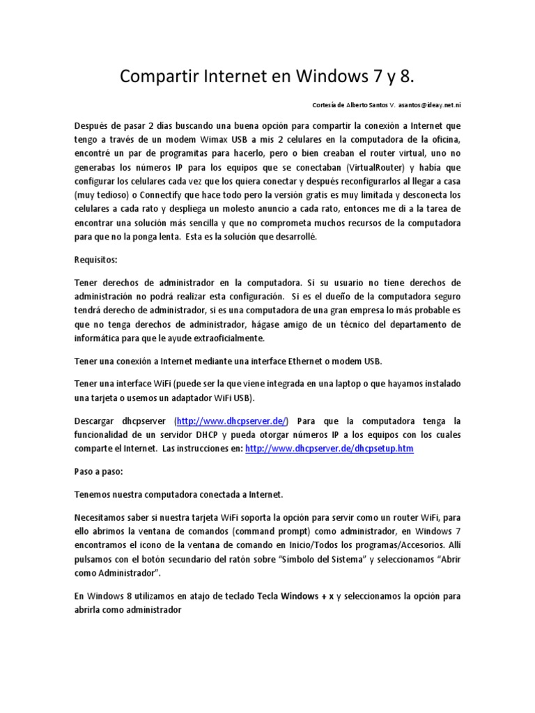 programa para compartir internet