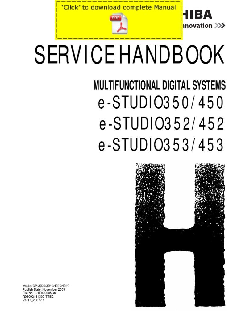 toshiba e studio 350 352 450 452 service manual service handbook parts list catalog