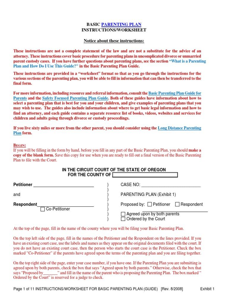 Worksheets Parenting Plan Worksheet parentingplanworksheetfillablever6tabtestwithlinksver8savable10 7 08 child custody parenting