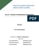 Maximization of Flight Duration of a Free Flight Glider (DOE)