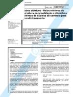 NBR- 9511 (1997) - Cabos Eletricos - Raios Minimos de Curvatura Para Instalacao E Diametro