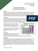 How does FDI affect China?