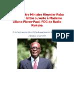 L'ex-Ministre Ministre Himmler Rebu écrit une lettre ouverte à Madame Liliane Pierre-Paul, PDG de Radio Kiskeya