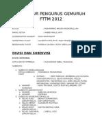 Struktur Pengurus Gemuruh Fttm 2012