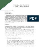 Determine Overall Heat Transfer Cofficient by Parellel Flow Heat Exchanger
