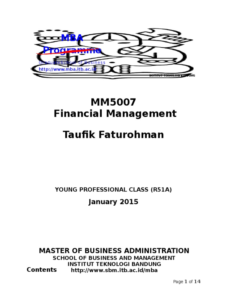 Syllabus Mm5007 Financial Management 51a 1 Master Of Business