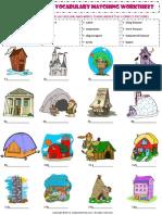 Home House Types Vocabulary Matching Exercise Worksheet