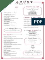 Bardot Brasserie brunch menu