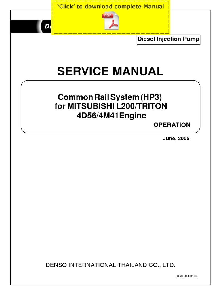 Denso Common Rail Mitsubishi L200 Triton 4d56 4m41 Service Manual Pages Throttle Fuel Injection