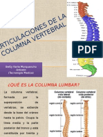 Articulaciones de La Columna Vertebral