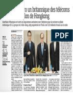 20150124 - Le Figaro - Le futur numero un britannique des telecoms sera sous pavillon de Hongkong