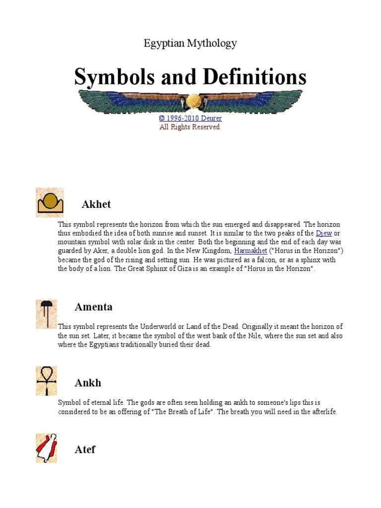 Egyptian Mythology Symbols And Definitions Isis Ancient Egyptian