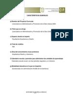 Proyecto Curricular Licenciatura en Administración y Promoción de la Obra Urbana 2004