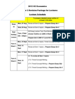 2012 H2 Economics Sem 2 Revision Lectures (Lecture Schedule & Qns Only) for Students
