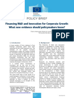 Financing RD and Innovation for Corporate Growth What New Evidence Should Policymakers Know