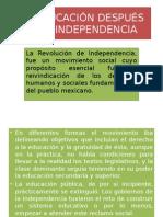 La Educación Después de La Independencia