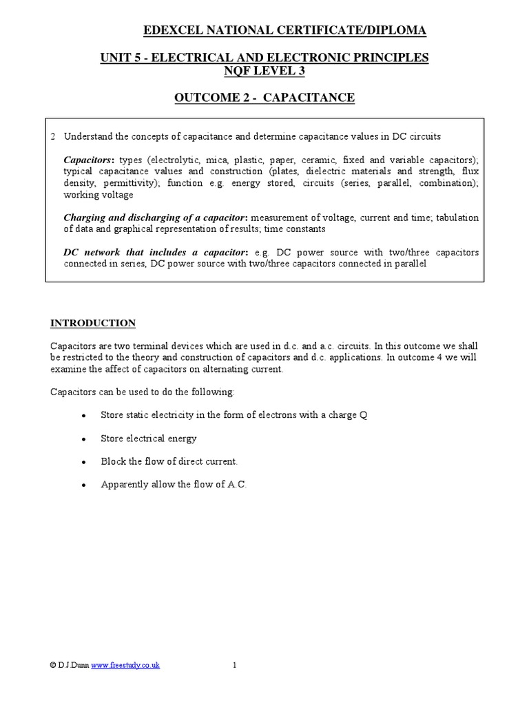 Capacitance Capacitor Electricity Charging And Discharging Of A
