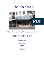 Business Plan Template Existing Cafe
