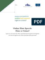 Online Hate Speech Essay Competition Runner Up