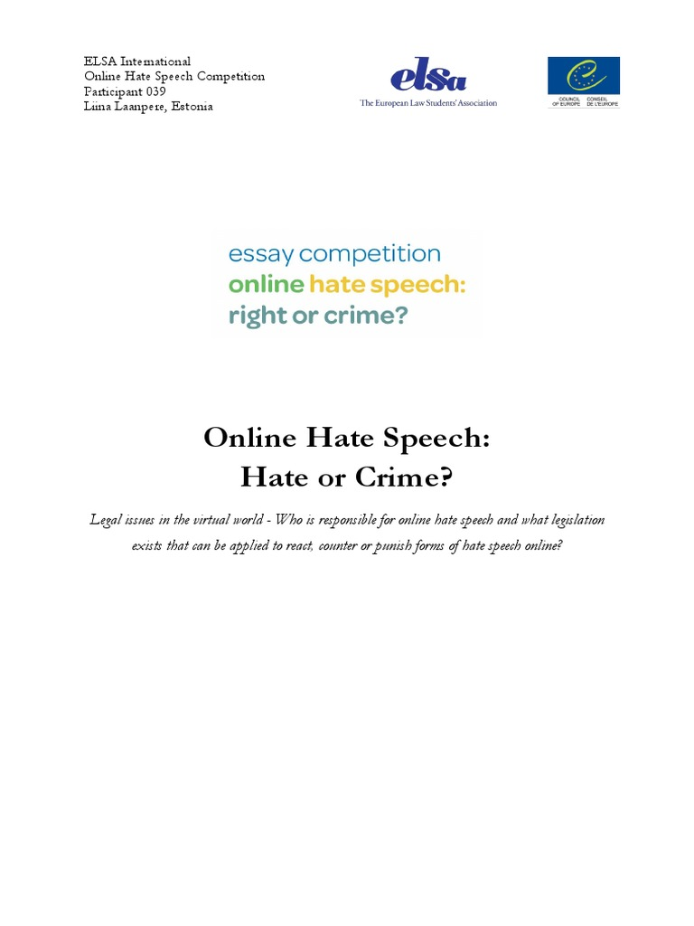 online hate speech essay competition runner up hate speech hatred