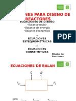 Ecuaciones Para Diseño de Reactores
