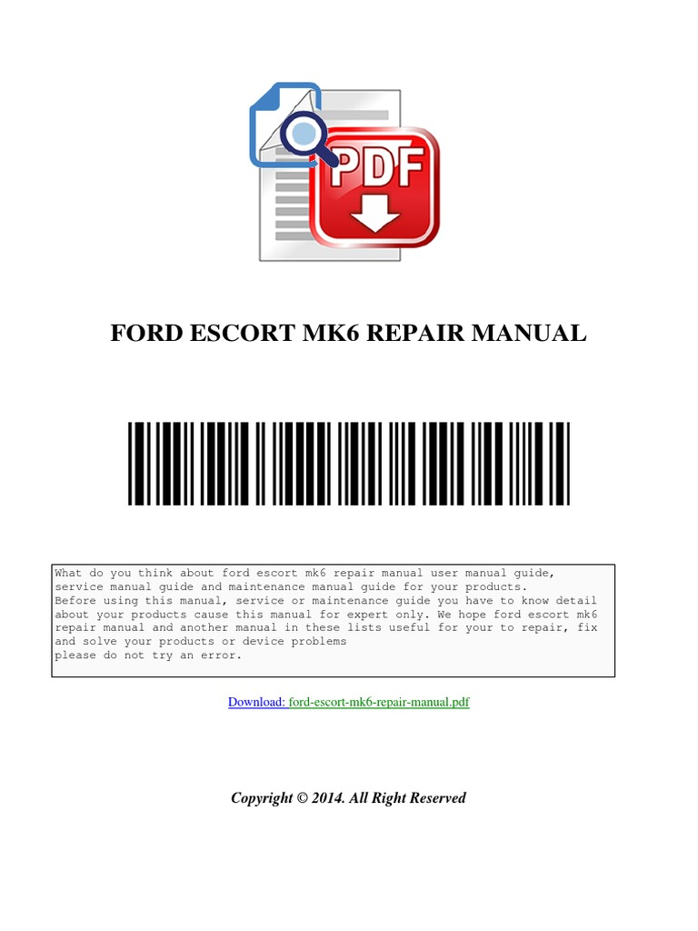 Ford Escort Mk6 Repair Manual Download