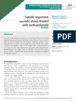 Acetazolamide responsive episodic ataxia treated  with methazolamide
